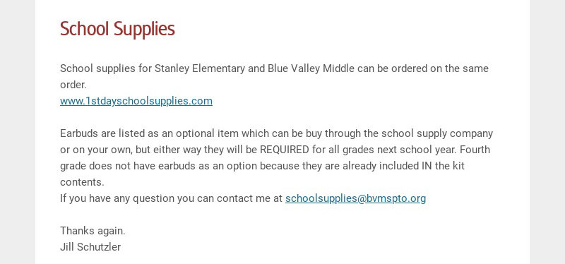 School Supplies School supplies for Stanley Elementary and Blue Valley Middle can be ordered on...