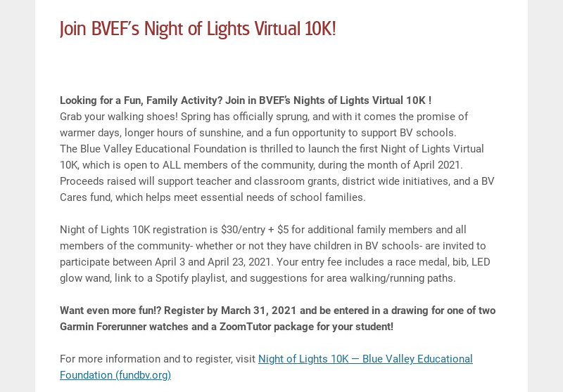 Join BVEF's Night of Lights Virtual 10K! Looking for a Fun, Family Activity? Join in BVEF's...
