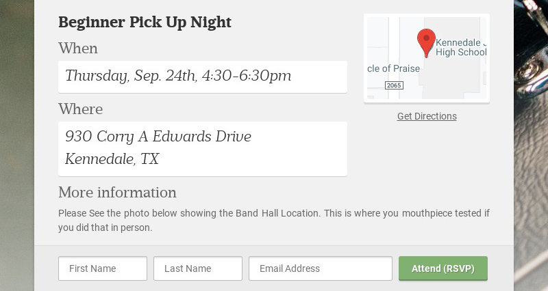 Beginner Pick Up Night When Thursday, Sep. 24th, 4:30-6:30pm Where 930 Corry A Edwards Drive...