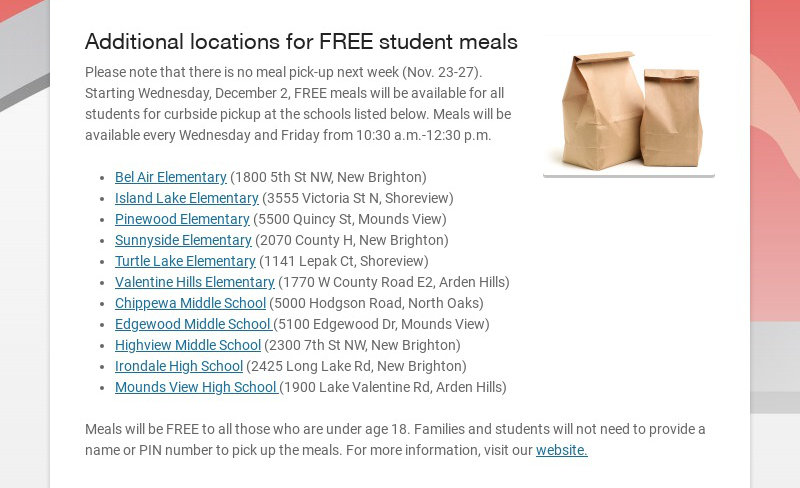 Additional locations for FREE student meals
