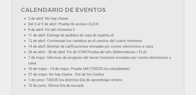 CALENDARIO DE EVENTOS                                             2 de abril: No hay clases                                             Del 5 al 9 de abril: Prueba de acceso CLICK                                             9 de...