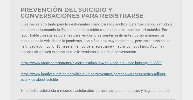 PREVENCIÓN DEL SUICIDIO Y CONVERSACIONES PARA REGISTRARSE                                             El estrés es alto tanto para los...