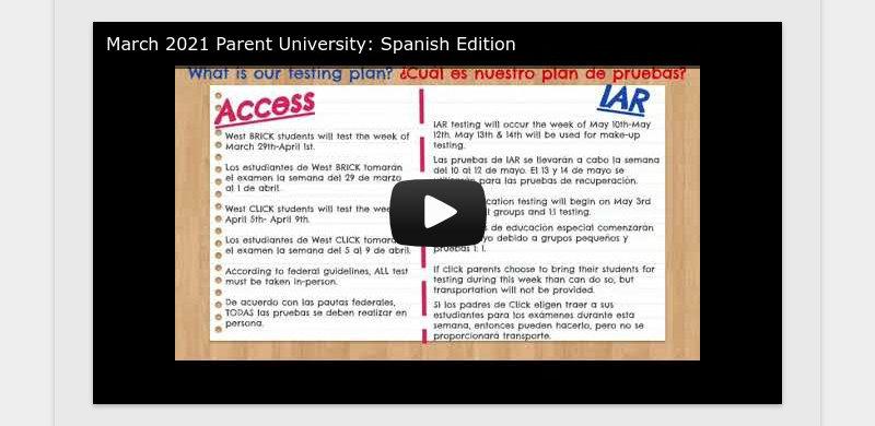 March 2021 Parent University: Spanish Edition