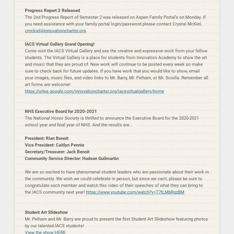 Progress Report 2 Released The 2nd Progress Report of Semester 2 was released on Aspen Family...