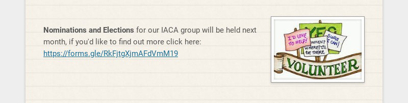 Nominations and Elections for our IACA group will be held next month, if you'd like to find out...