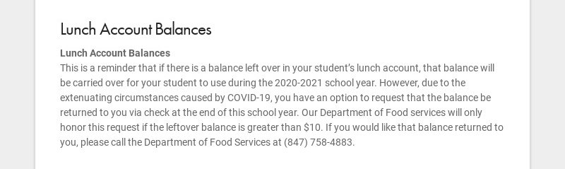 Lunch Account Balances