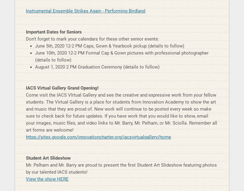 Instrumental Ensemble Strikes Again - Performing Birdland Important Dates for Seniors Don't...