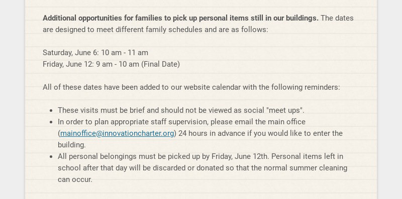 Additional opportunities for families to pick up personal items still in our buildings. The dates...