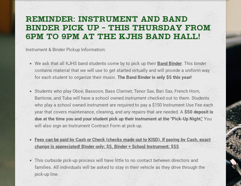 REMINDER: INSTRUMENT AND BAND BINDER PICK UP - THIS THURSDAY FROM 6PM TO 9PM AT THE KJHS BAND...