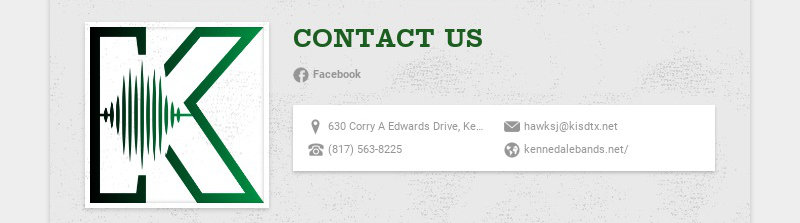 CONTACT US Facebook 630 Corry A Edwards Drive, Kennedale, TX, USA hawksj@kisdtx.net (817)...