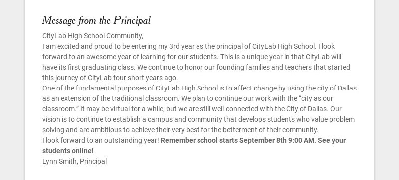 Message from the Principal CityLab High School Community, I am excited and proud to be entering...