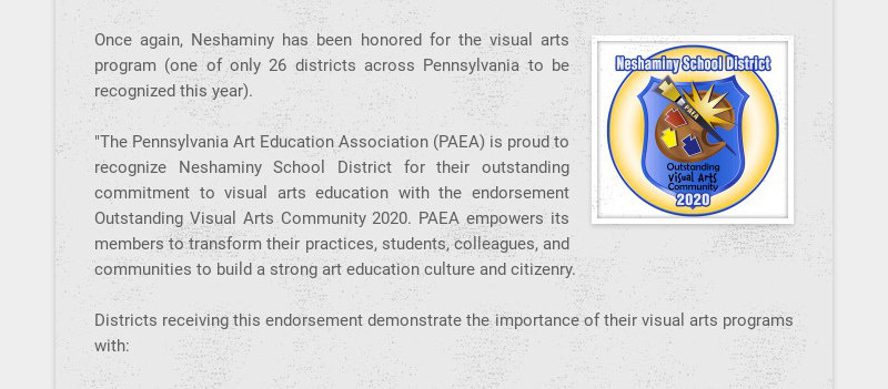 Once again, Neshaminy has been honored for the visual arts program (one of only 26 districts...
