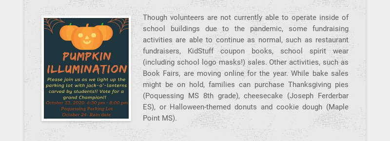 Though volunteers are not currently able to operate inside of school buildings due to the...