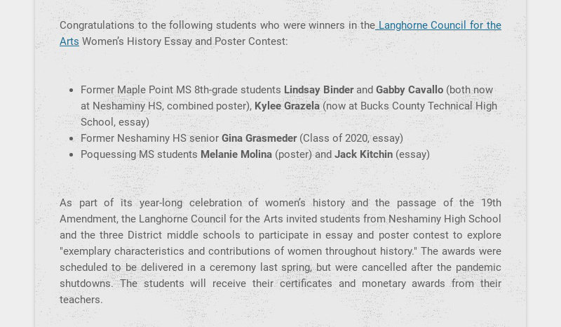 Congratulations to the following students who were winners in the Langhorne Council for the Arts...