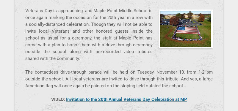Veterans Day is approaching, and Maple Point Middle School is once again marking the occasion for...