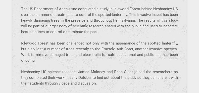 The US Department of Agriculture conducted a study in Idlewood Forest behind Neshaminy HS over...