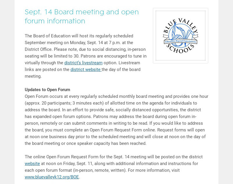 Sept. 14 Board meeting and open forum information