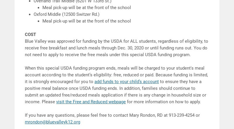 Important update to drive-thru pickup meal service for remote learners starting Sept. 14