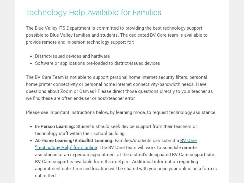Technology Help Available for Families