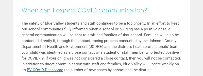 When can I expect COVID communication?
