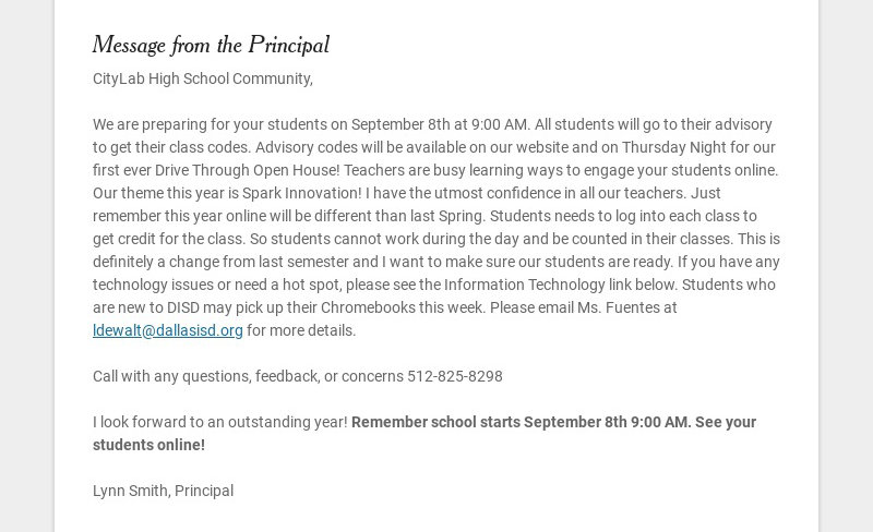 Message from the Principal CityLab High School Community, We are preparing for your students on...