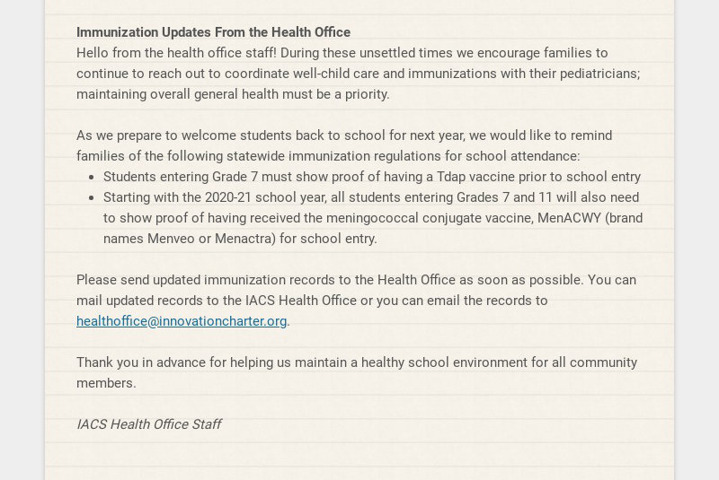 Immunization Updates From the Health Office Hello from the health office staff! During these...
