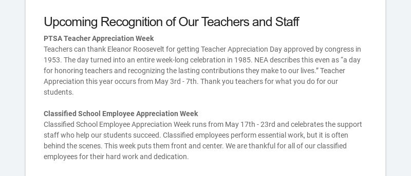 Upcoming Recognition of Our Teachers and Staff