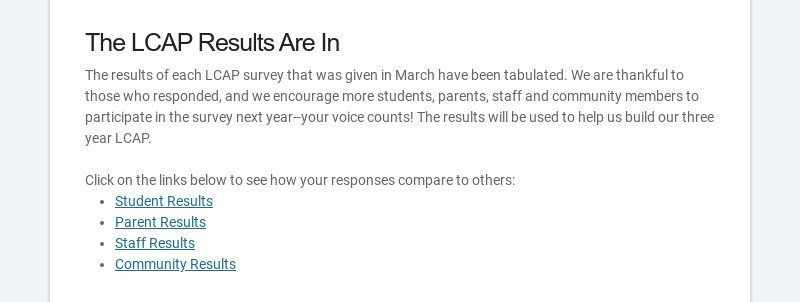 The LCAP Results Are In The results of each LCAP survey that was given in March have been...