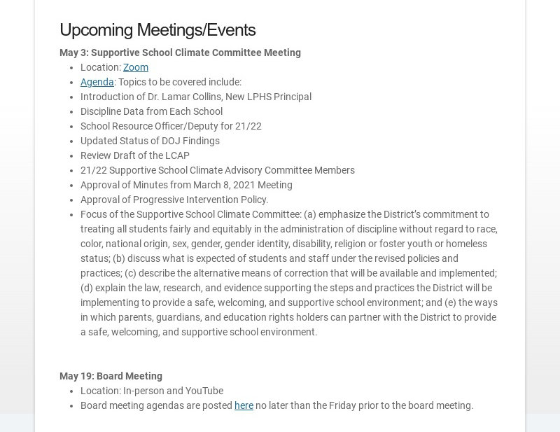 Upcoming Meetings/Events May 3: Supportive School Climate Committee Meeting Location: Zoom...
