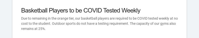 Basketball Players to be COVID Tested Weekly