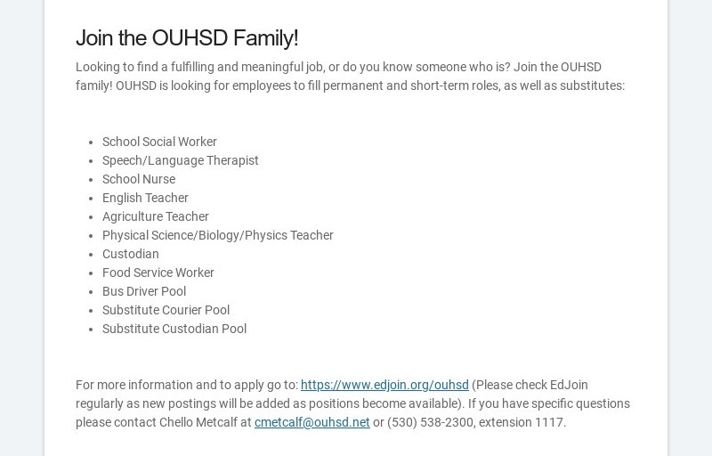 Join the OUHSD Family! Looking to find a fulfilling and meaningful job, or do you know someone...