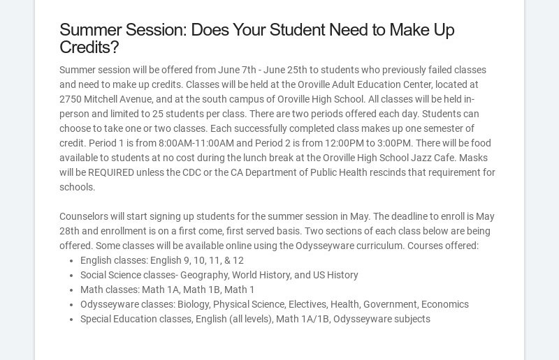 Summer Session: Does Your Student Need to Make Up Credits? Summer session will be offered from...