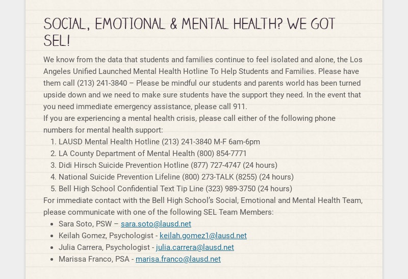 SOCIAL, EMOTIONAL & MENTAL HEALTH? WE GOT SEL! We know from the data that students and families...