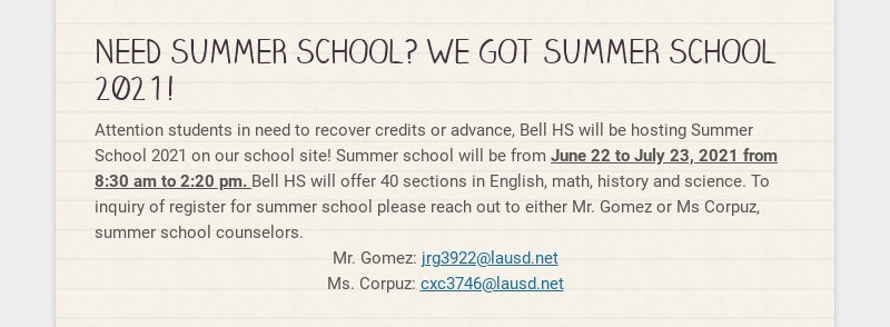 NEED SUMMER SCHOOL? WE GOT SUMMER SCHOOL 2021! Attention students in need to recover credits or...