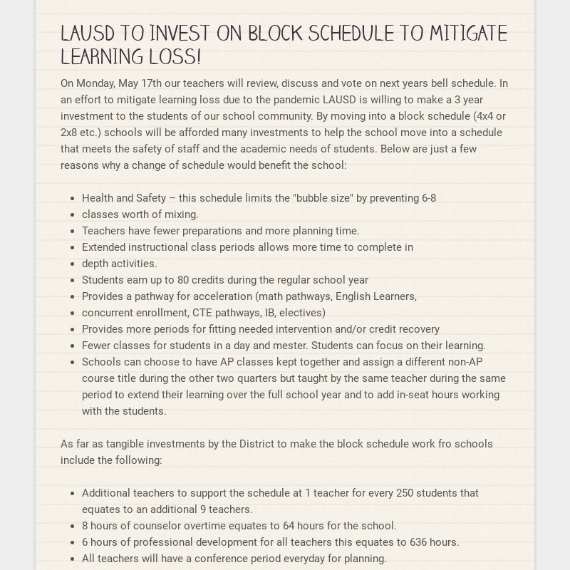 LAUSD TO INVEST ON BLOCK SCHEDULE TO MITIGATE LEARNING LOSS! On Monday, May 17th our teachers...