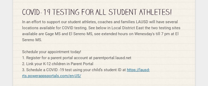 COVID-19 TESTING FOR ALL STUDENT ATHLETES! In an effort to support our student athletes, coaches...