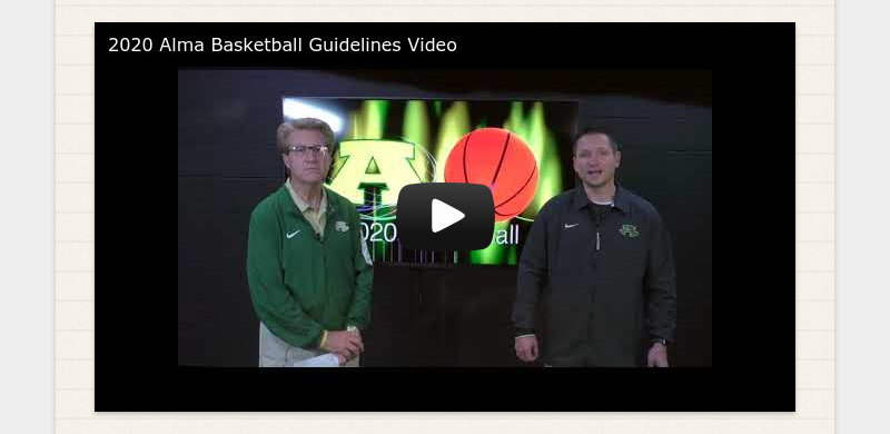 2020 Alma Basketball Guidelines Video