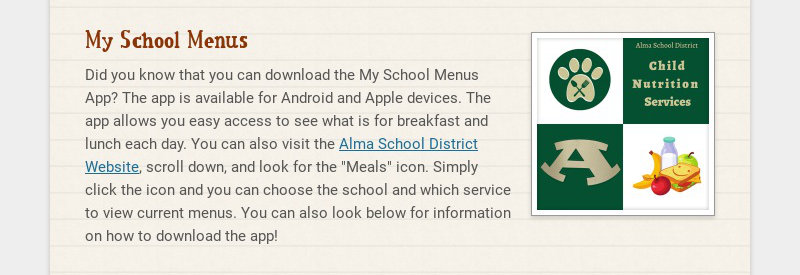 My School Menus Did you know that you can download the My School Menus App? The app is available...