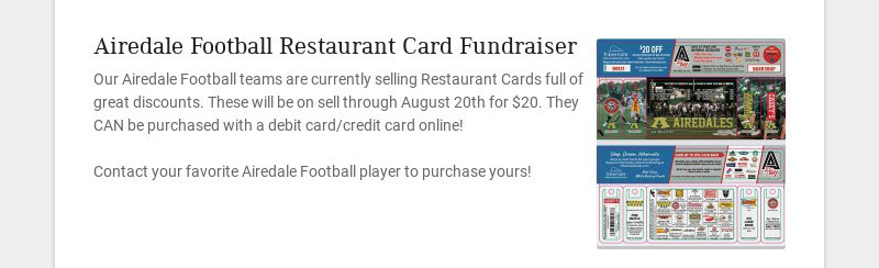 Airedale Football Restaurant Card Fundraiser