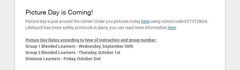 Picture Day is Coming! Picture day is just around the corner! Order you pictures today here using...