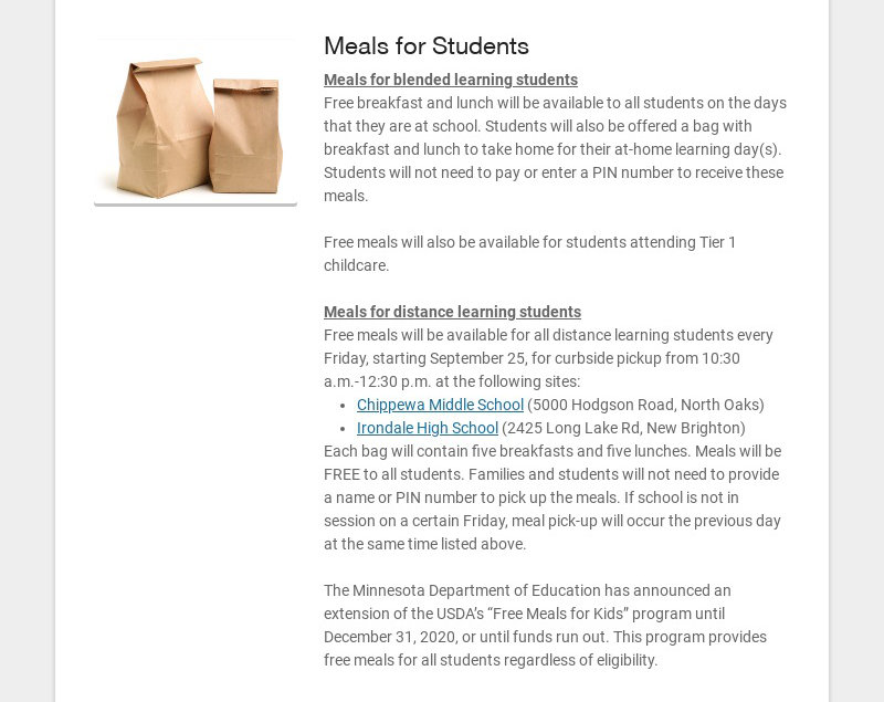 Meals for Students Meals for blended learning students Free breakfast and lunch will be available...