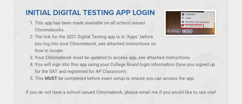 INITIAL DIGITAL TESTING APP LOGIN This app has been made available on all school issued...