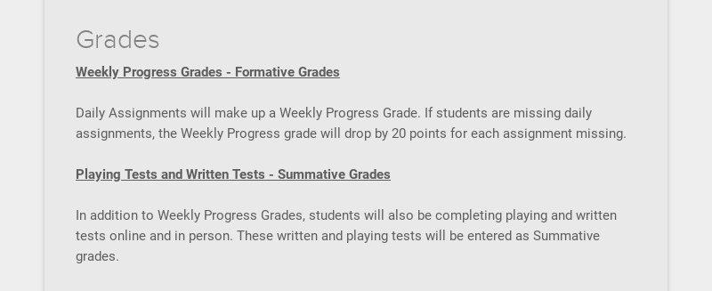 Grades Weekly Progress Grades - Formative Grades Daily Assignments will make up a Weekly...
