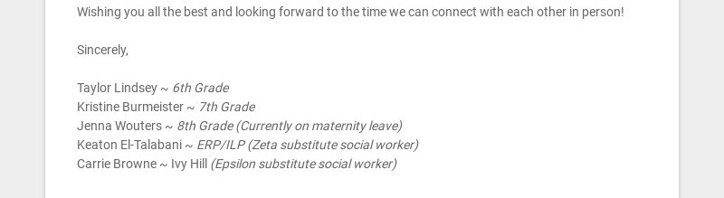 A Message from the TMS Social Workers Hello Parents! As our students and families continue to...
