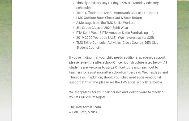 Dear Parents and Guardians: This third week of instruction hopefully has your middle schooler...