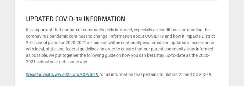 UPDATED COVID-19 INFORMATION It is important that our parent community feels informed, especially...