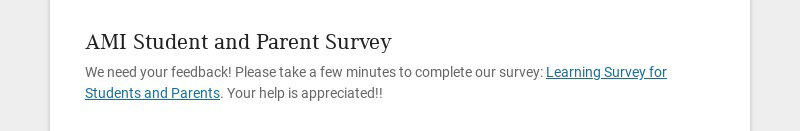 AMI Student and Parent Survey
