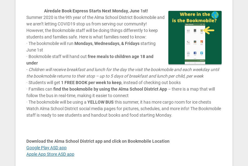 Airedale Book Express Starts Next Monday, June 1st!