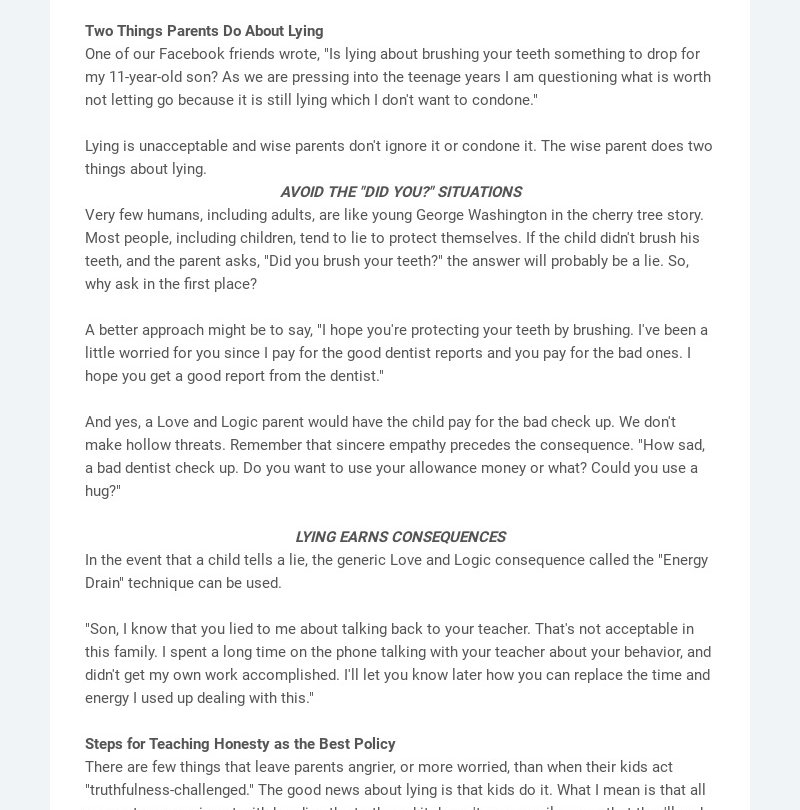 """Two Things Parents Do About Lying One of our Facebook friends wrote, """"Is lying about brushing..."""