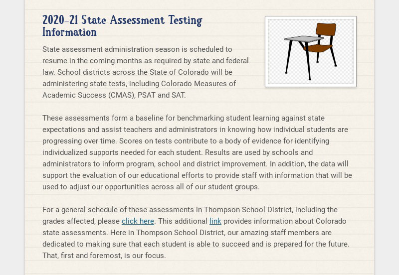 2020-21 State Assessment Testing Information State assessment administration season is scheduled...